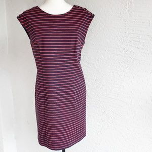 Michael Kors Navy Blue and Red Striped Dress
